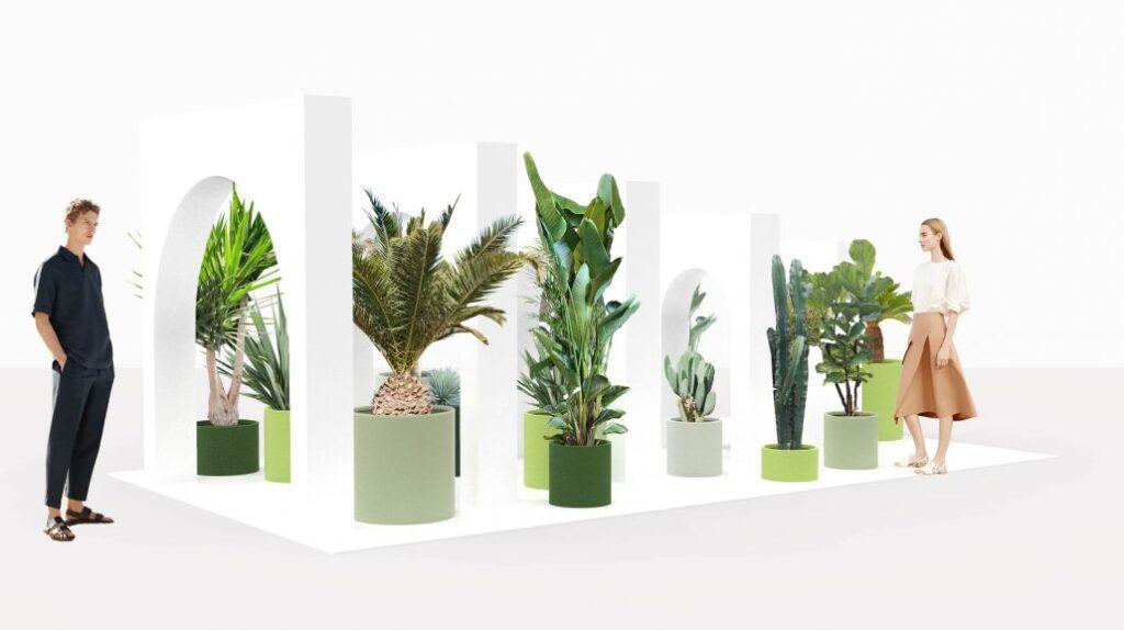 La Rinascente col progetto The Green Life, creato con la designer olandese Sabine Marcelis, che l'anno scorso ha anche lavorato con Fendi, ha ricreato   delle isole verdi per far immergere le persone in una passeggiata mediterranea all'ombra degli ulivi secolari.